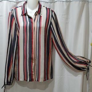 Kenneth Cole silk long sleeve blouse Size 8
